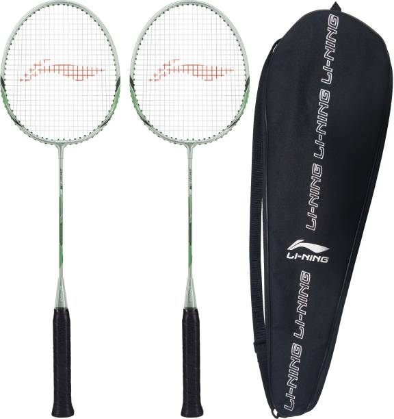 LI-NING XP-80-IV ( strung ) - Pack of 2 With 1 full cover Grey, Green Strung Badminton Racquet