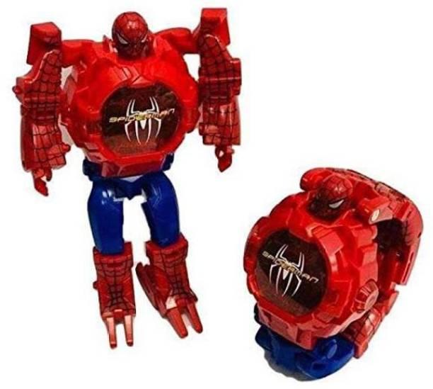 I&SONI Avengers Super Hero Transformer Robot Toy Convert into Digital Wrist Watch for Kids, Avengers Robot Deformation Watch (Spiderman)