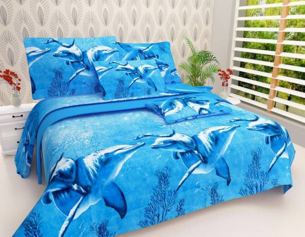 AMIGOS CREATION 240 TC Polyester Double Printed Bedsheet