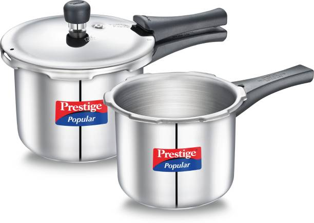 Prestige Popular Stainless Steel 3 + 2 L Combination Pack 3 L, 2 L Induction Bottom Pressure Cooker
