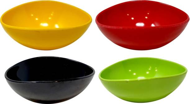 U.P.C. 100% Pure Food Grade Melamine Plastic Snack Bowl Oblong Shape Set of 4, Multicolor Melamine Serving Bowl