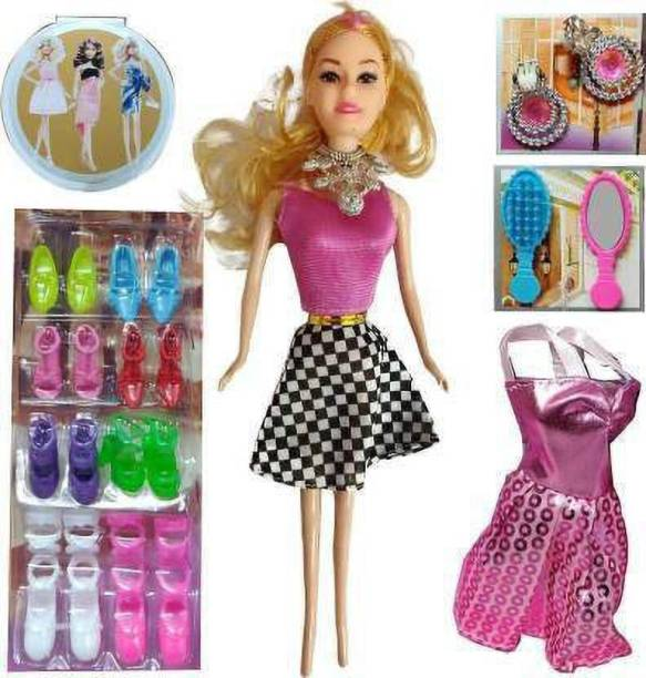 Tenmar baby Fashion Doll With Shoes & Fashion Accessories Kit Play Set For Girls, Kids Gift and Showpiece (Multicolor)