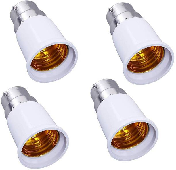 REHTRAD B22 to E27 Base Socket Ceramic Lamp Holder Light Bulb Adapter Set of 4 - White Plastic Light Socket