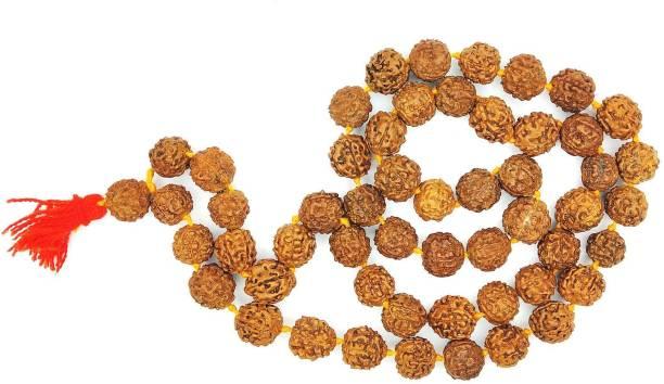 Raviour Lifestyle Natural & Original Rudraksha Kantha Mala Big Beads (53+1 =54 Beads) Mala Wood Necklace Set