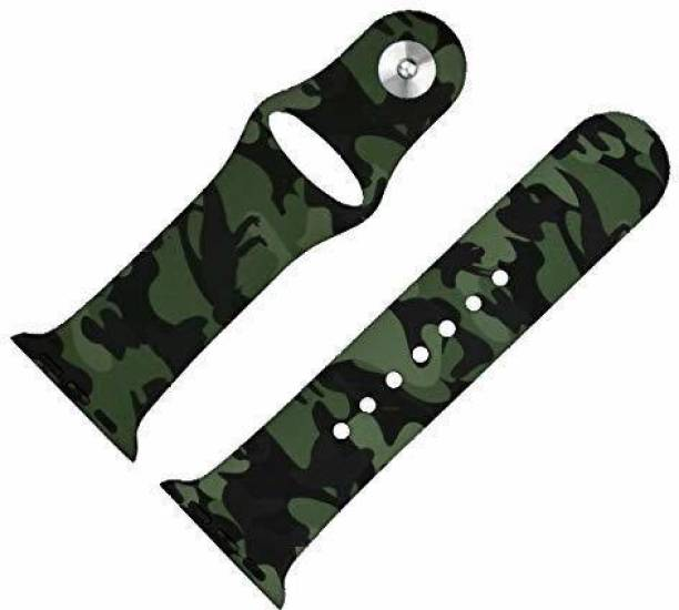 Crysendo 42mm-44mm Silicone Green Camouflage Strap Smart Watch Strap