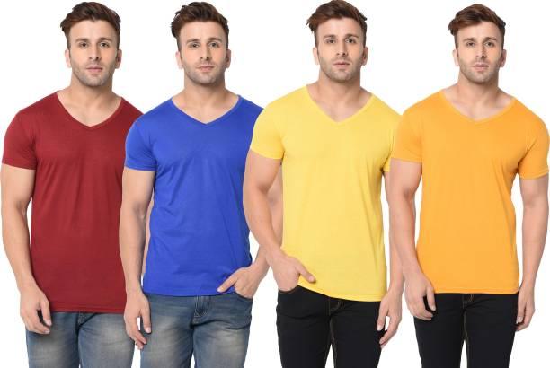 Tivy Solid Men V Neck Multicolor T-Shirt