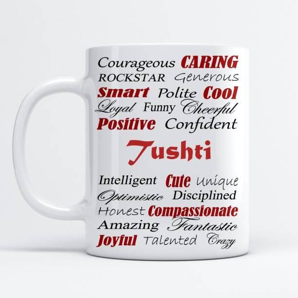Beautum Amazing Personality Tushti (350) ml Good Personality White Ceramic Coffee Mug