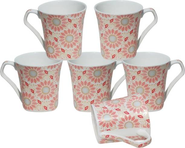 U.P.C. Pack of 6 Bone China Multi Color Decal Of Fine Bone China Ceramics Tableware, Daily Use Kitchen Ware, Set Of 6 Cups