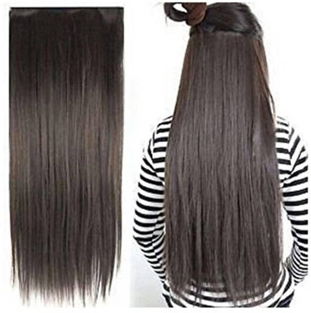 Stylazo Straight Full Head Synthetic Fibre Clip In  Extensions 5 Clips Based 24 Inch - For Women And Girls - Feel Like Real s Hair Extension