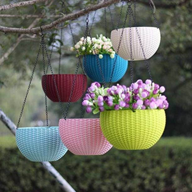 """VENTP PRODUCTION 6"""" Woven Design Hanging Euro Basket For Indoor and Outdoor with Chain Plant Container Set"""