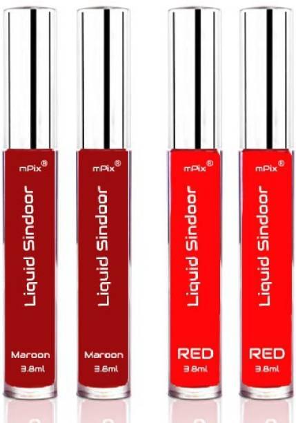 mPix Herbal Matte Liquid Sindoor MEROON and Red (Pack of 4) Sindoor