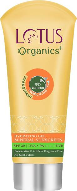 Lotus Organics+ Face Sunscreen Gel, SPF 30 PA+++, For Oily Skin, Natural, Mineral Based, 100% Chemical Free, Certified Organic Actives - SPF 30 PA+++