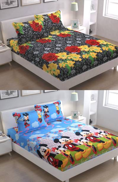 RISING STAR 140 TC Microfiber Double Floral Bedsheet