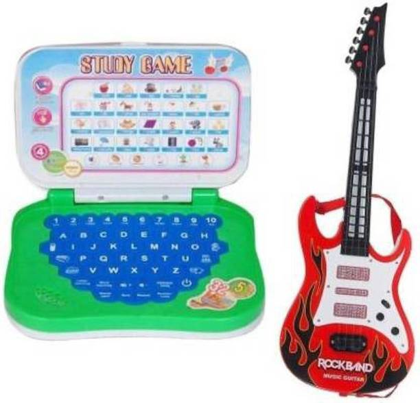 Tenmar Toys combo of Mini English Learning Laptop & Rockband Music Guitar (Multicolor)