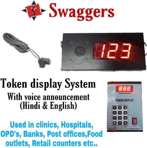 SWAGGERS 3 Digit LED Digital Token Display System for Retail Outlets with Multi Language Voice calling td84 Indoor PA System