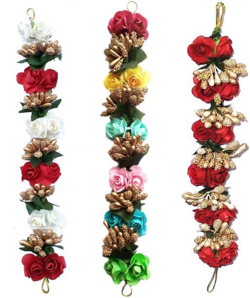 Maahal Set of 3 Fancy Fabric Hair Artificial flower gajra| Juda Band Hair Accessories for Women & Girls Bun