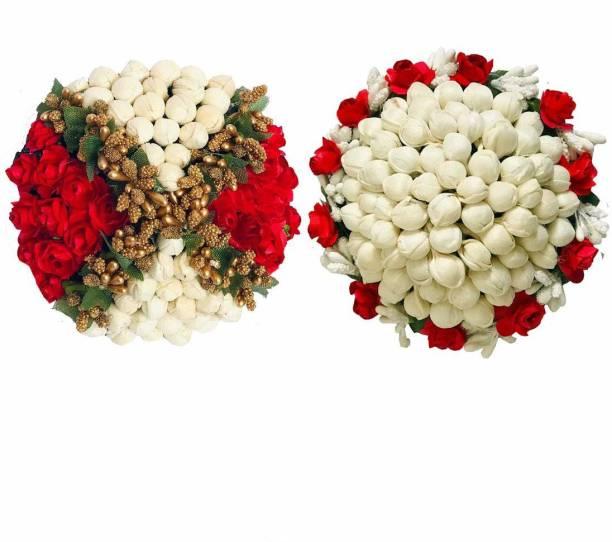 Maahal Artificial flower Bun Juda Maker Flower Gajra Hair Accessories For Women and Girls Multi Color (Pack-02) Bun