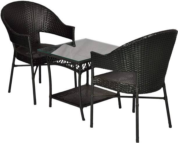 WICKER HUB Black Cane Table & Chair Set