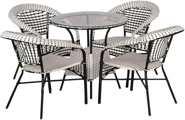 WICKER HUB White Cane Table & Chair Set