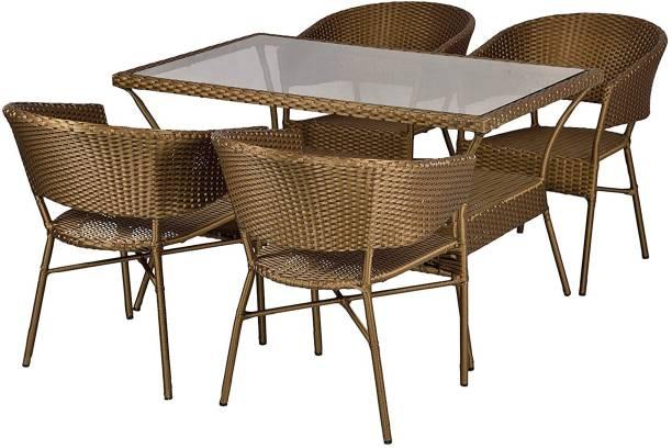 WICKER HUB Brown Cane Table & Chair Set