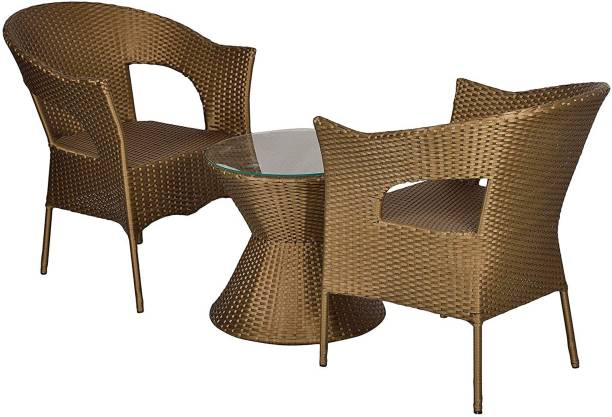 WICKER HUB Gold Cane Table & Chair Set