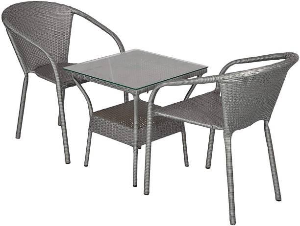 WICKER HUB Grey Cane Table & Chair Set
