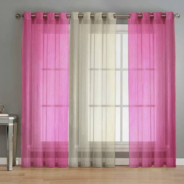 La elite 152 cm (5 ft) Net Window Curtain (Pack Of 3)