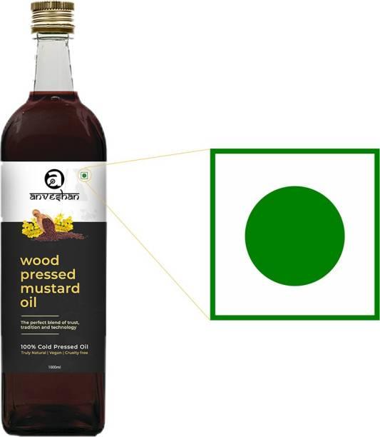 Anveshan Wood Pressed Mustard Oil (Kacchi Ghani/ Kolhu/ Chekku) 1Litre Glass Bottle, (Pack of 2) Mustard Oil Glass Bottle