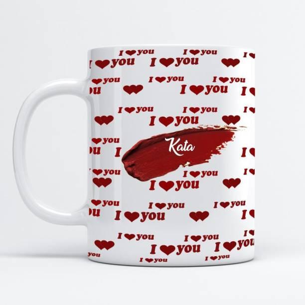 Beautum I Love You Kata Printed White Ceramic Coffee Mug