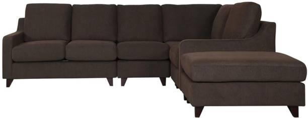 Woodcasa Bonjo Six Seater RHS Corner Sofa In Dark Brown Colour Fabric 6 Seater  Sofa