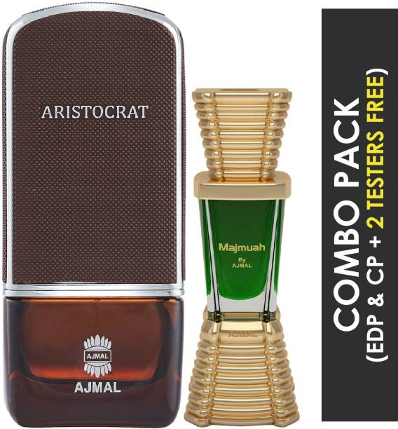 Ajmal Aristocrat EDP Citrus Woody Perfume 75ml for Men and Majmua Concentrated Perfume Oil Oriental Alcohol- Attar 10ml for Unisex + 2 Parfum Testers