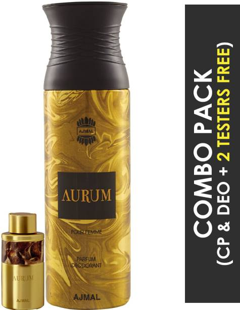 Ajmal Aurum Concentrated Perfume Oil Fruity Floral Alcohol- Attar 10ml for Women and Aurum Femme Deodorant Fruity Floral Fragrance 200ml for Women + 2 Parfum Testers