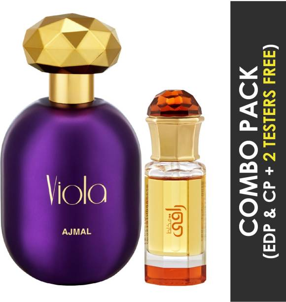 Ajmal Viola EDP Fruity Floral Perfume 75ml for Women and Mukhallat Raaqi Concentrated Perfume Oil Floral Fruity Alcohol- Attar 10ml for Unisex + 2 Parfum Testers