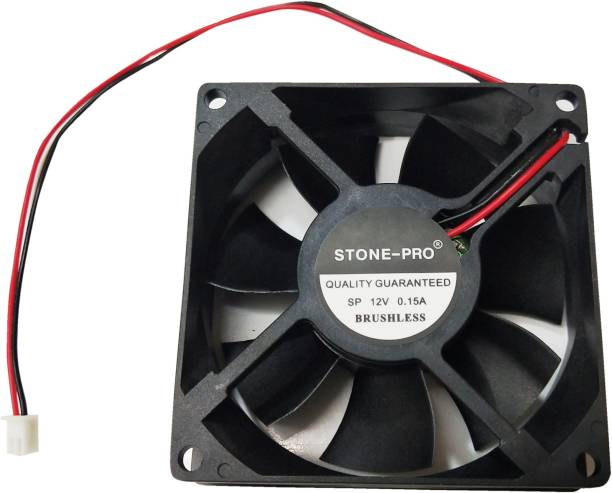 STONE-PRO 12V DC Fan 80X80X25MM Cabinet 3-Inch Square Cooling fan colore black Cooler