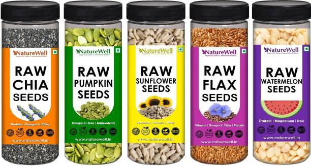 Naturewell Combo Pack of Chia Seeds 200g ,Flax Seeds 200g ,Watermelon Seeds 150g ,Sunflower Seeds 150g ,Pumpkin Seeds 150g (Raw Seeds)