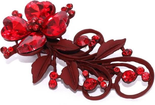 Priyaasi Trendy Party Wear Hair Pin with Red Stone for Women & Girls Hair Clip