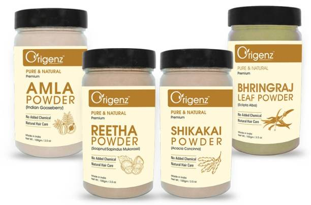 Origenz Premium Amla, Reetha, Shikakai, Bhringraj Powder for Healthy Hair, Pack of 4