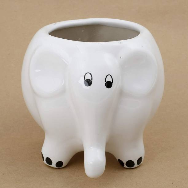Nayi Umang Elephant Shape white ceramic pot/planter/vase/container for Indoor & Outdoor . Plant Container Set