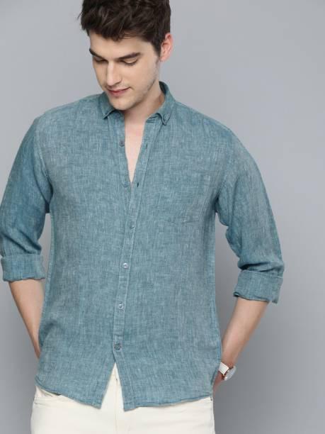 MAST & HARBOUR Men Self Design Casual Blue Shirt