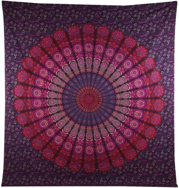 CRAZECULTURE Mandala Traditional Jaipuri Printed Cotton Tapestry Wall Decoration Bedsheet Bedcover Picnic Mat RR206 Wall Hanging Tapestry Tapestry