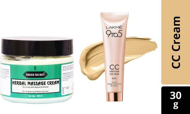Sheer Secret Herbal Nassage Cream 300ml and Lakme 9 to 5 Complexion Care Face Cream 300ml (Beige, 30 g)