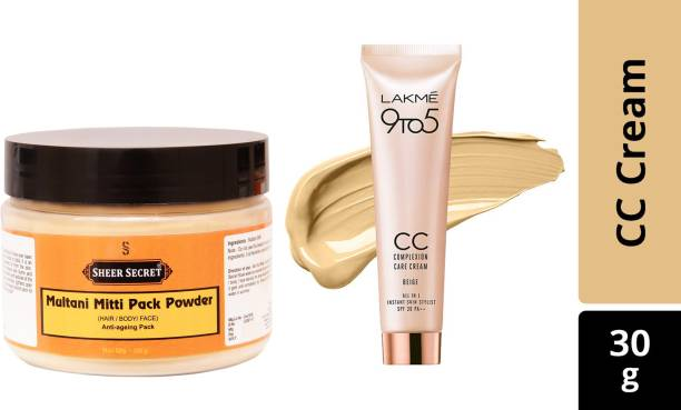 Sheer Secret Multani Mitti Pack Powder 150g and Lakme 9 to 5 Complexion Care Face Cream 300ml (Beige, 30 g)