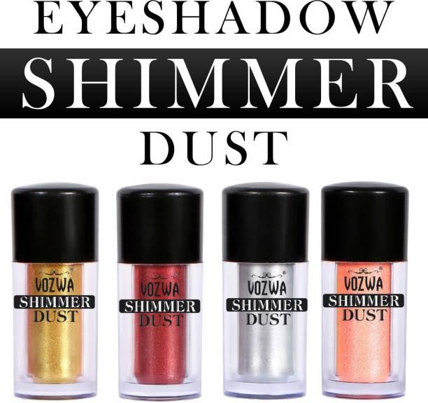VOZWA Eyeshadow Shining Shimmer Dust 8g- (Gold, Marron, Silver, Light Peach) 8 g