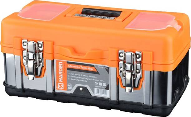 Harden Stainless-Steel & ABS Buckle, Non-Slip Soft-Grip Handle, Separate Accessories Storage Professional Stainless-Steel Tools Box with Removable Top Organizer Tray (45x23x19 cm, Orange) 520228 Tool Box