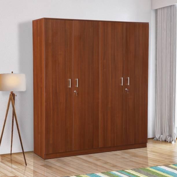 Hometown Premier 4 Door Regato Walnut Engineered Wood Almirah