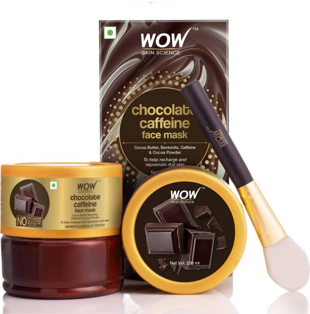 WOW SKIN SCIENCE Chocolate Caffeine Face Mask for Recharging & Rejuvenating Dull Skin - No Parabens, Sulphate, Mineral Oil & Color - 200mL