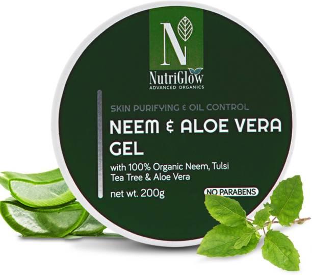 Nutriglow Advanced Organics Aloe Vera And Neem Gel For Hair & Skin |Moisturise Gel|Anti Dandruff Gel| Hair Gel