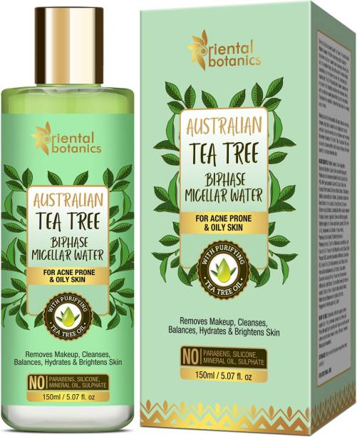 Oriental Botanics Tea Tree Bi-Phase Micellar Water 150ml, Removes Makeup & Cleanses | No SLS, Alcohol Makeup Remover