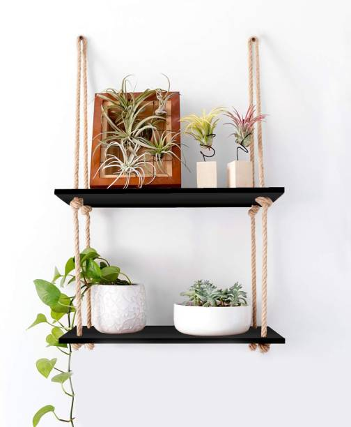 VAH 1 Shelf Black (2 Tier) Wooden Wall Shelf