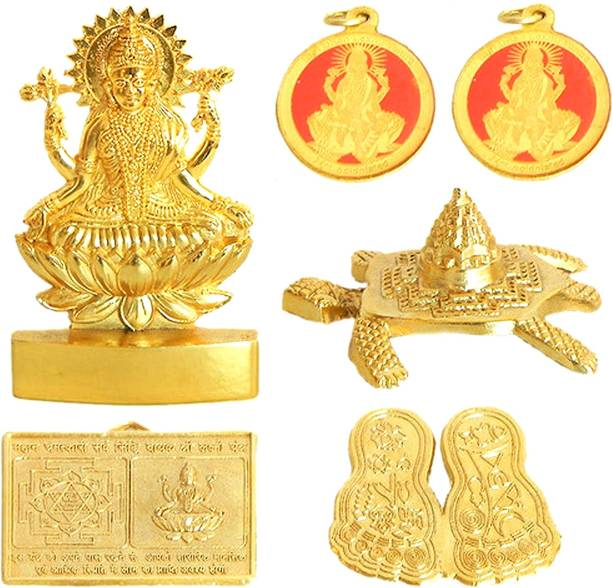 frackkon Shri Shree Dhan Laxmi Yantra KUBER for Goddess Bright Future Dhan Laxmi Yantra Locket of Wealth Energized Brass Yantra